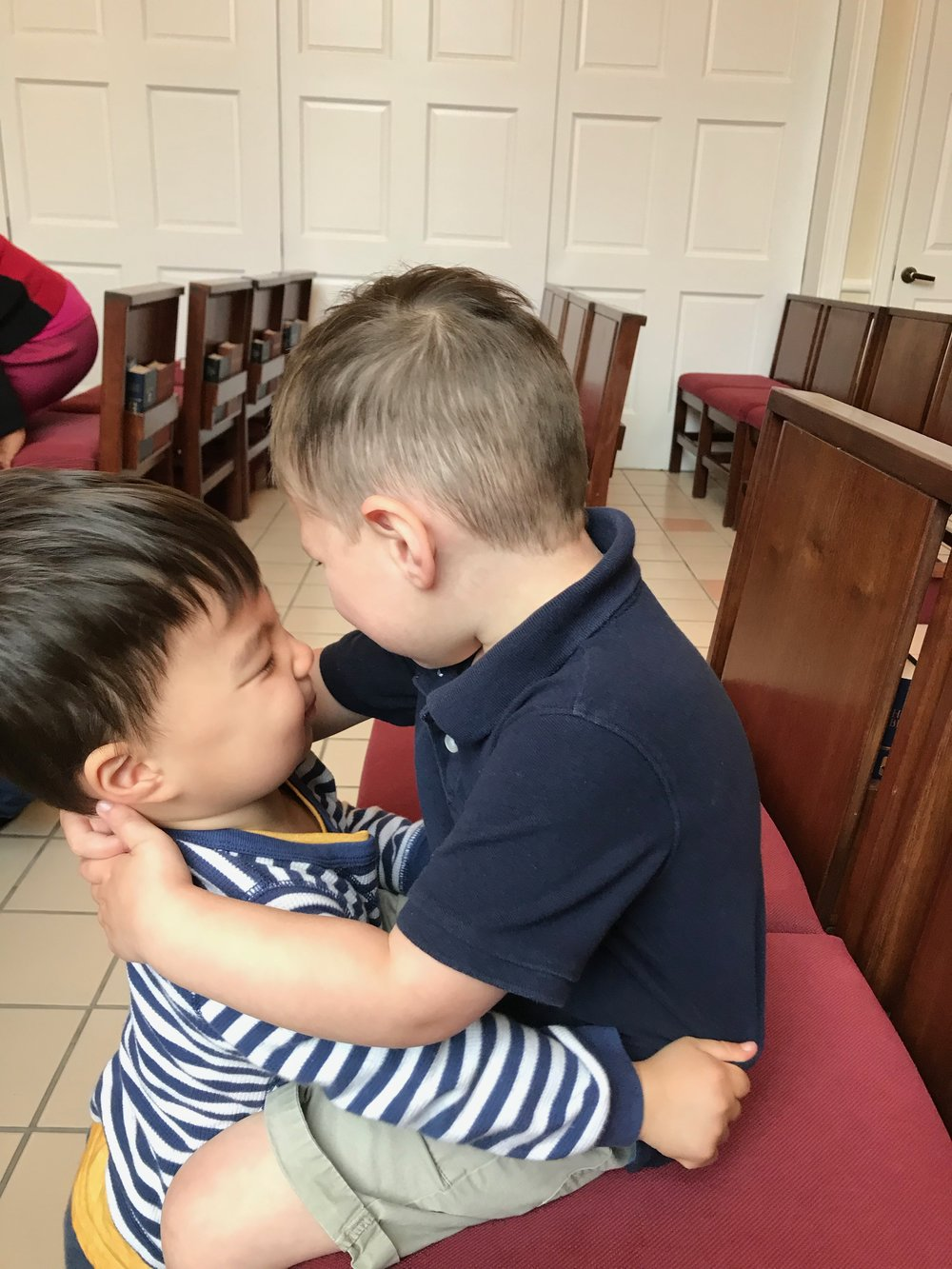 Little Ones - to him belong!Learning to be a friend is an important part of the day at St. Laurence Parent's Day Out.