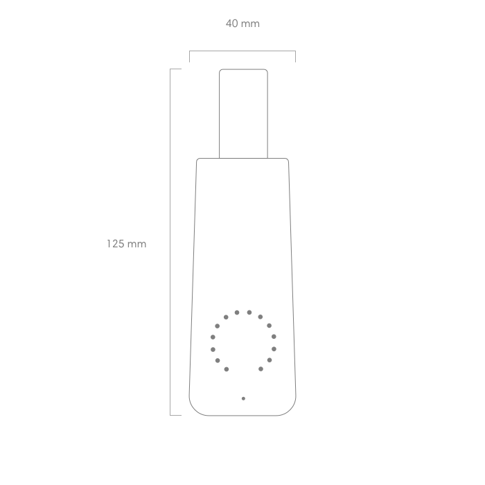 - T A I L L E E T P O I D SHauteur : 125 mmLargeur : 40 mmProfondeur : 35 mmPoids : 70 g