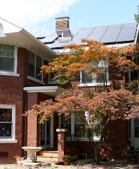 Solar panels grace this colonial home