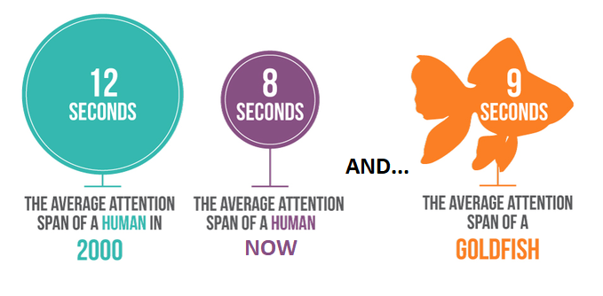 Photo credit:    https://griffonwebstudios.com/mobile-friendly-website-boost-user-enagement/human-vs-goldfish-attention-span-research/