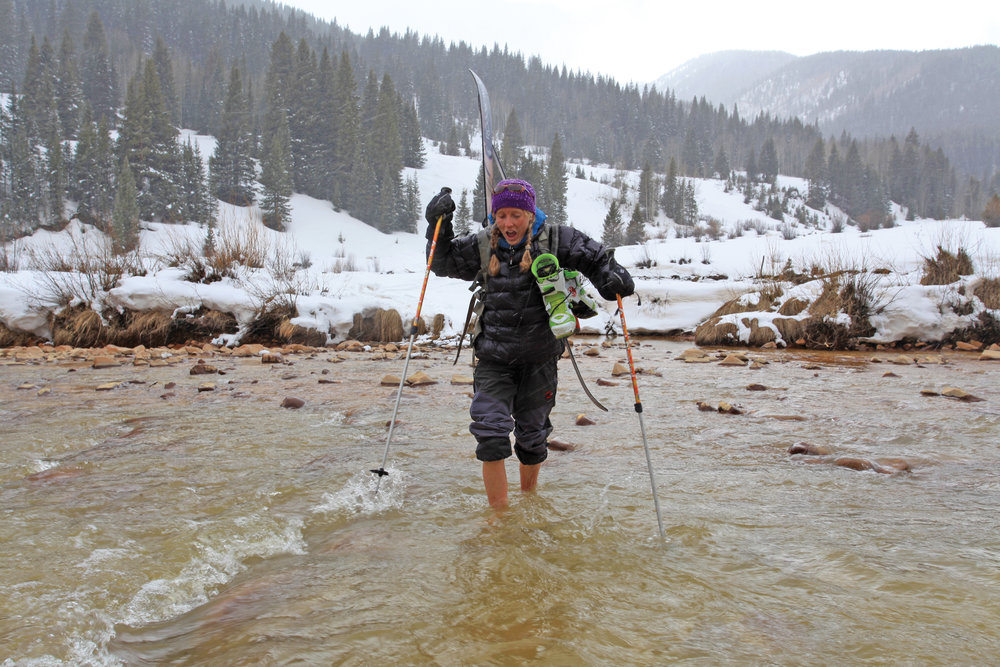 Inge Perkins crossing South Mineral Creek near Silverton, Colorado in 2007.  Photo by  Stephen Eginoire