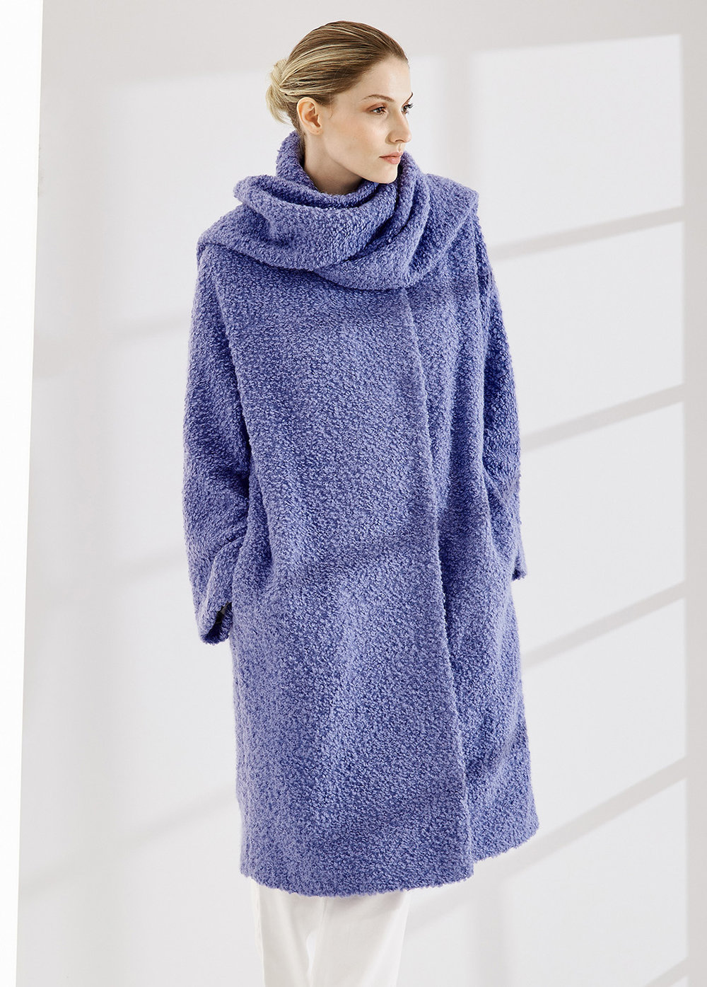 COAT ORNELLA AT-347   Colors:  boucle periwinkle,  mandarine, gray  Sizes: XS, S, M, L, XL