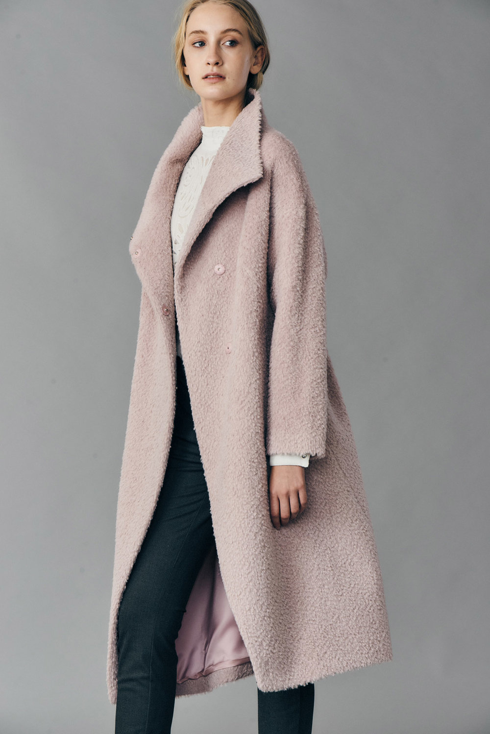 COAT JAZMIN AT-336   Colors:  soft rose   Sizes: XS, S, M, L, XL