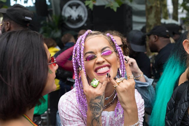 Rita Ora enjoying a moment at the Powis Square Stage.  Credit: Bacardi