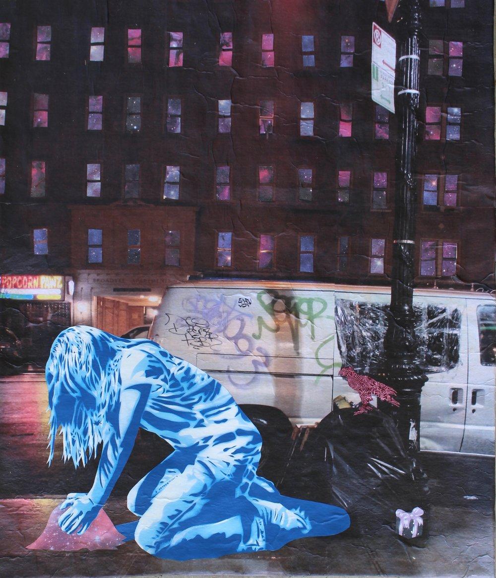 - Seeds of Kindness 2hand-cut stencil, spray paint, photograph (Manhattan), paper, acrylic on canvas, framed, 2018, 27.5