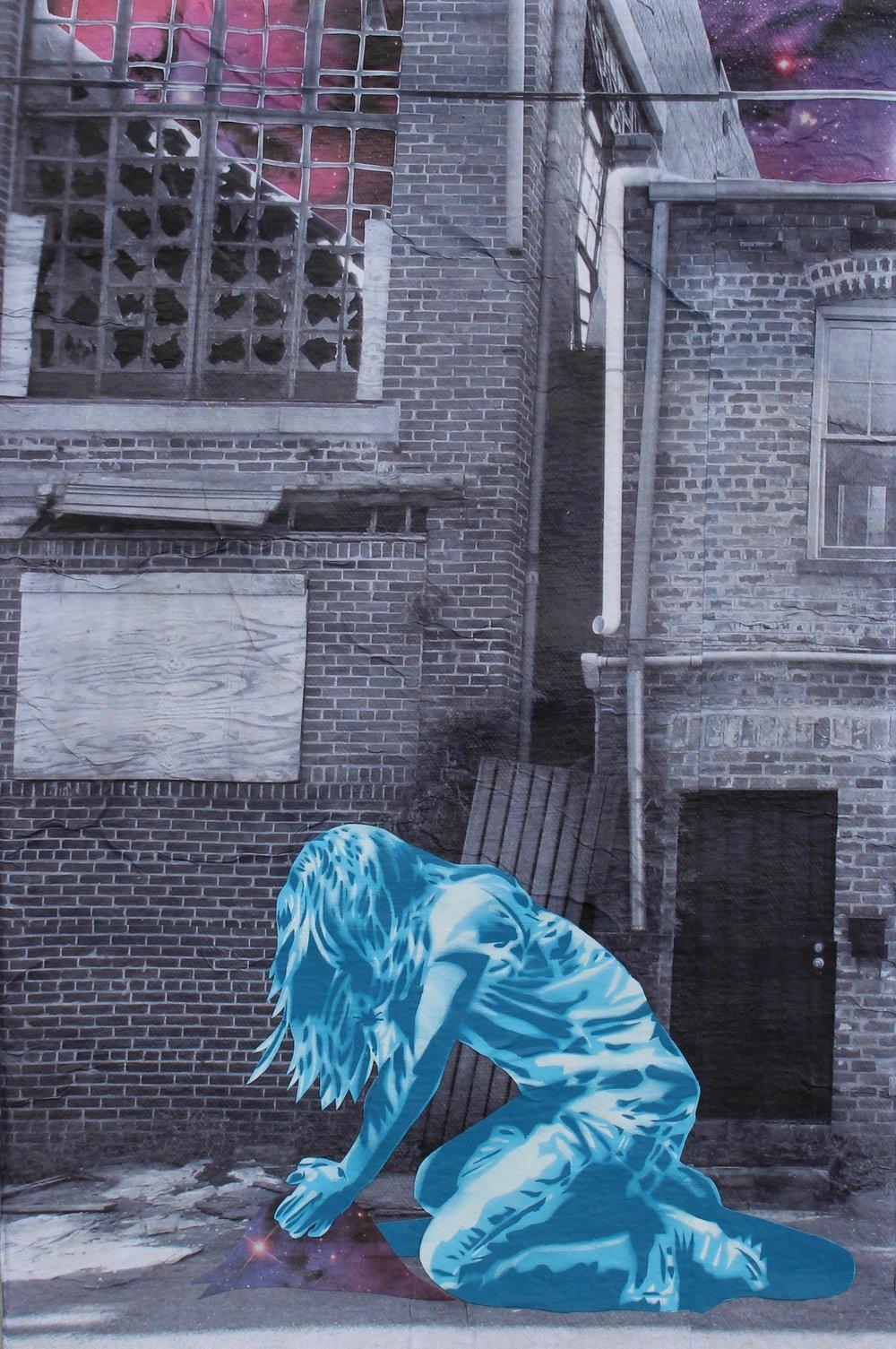 - Seeds of Kindness 14hand-cut stencil, spray paint, photograph (Savannah), paper, acrylic on canvas, framed, 2018, 16