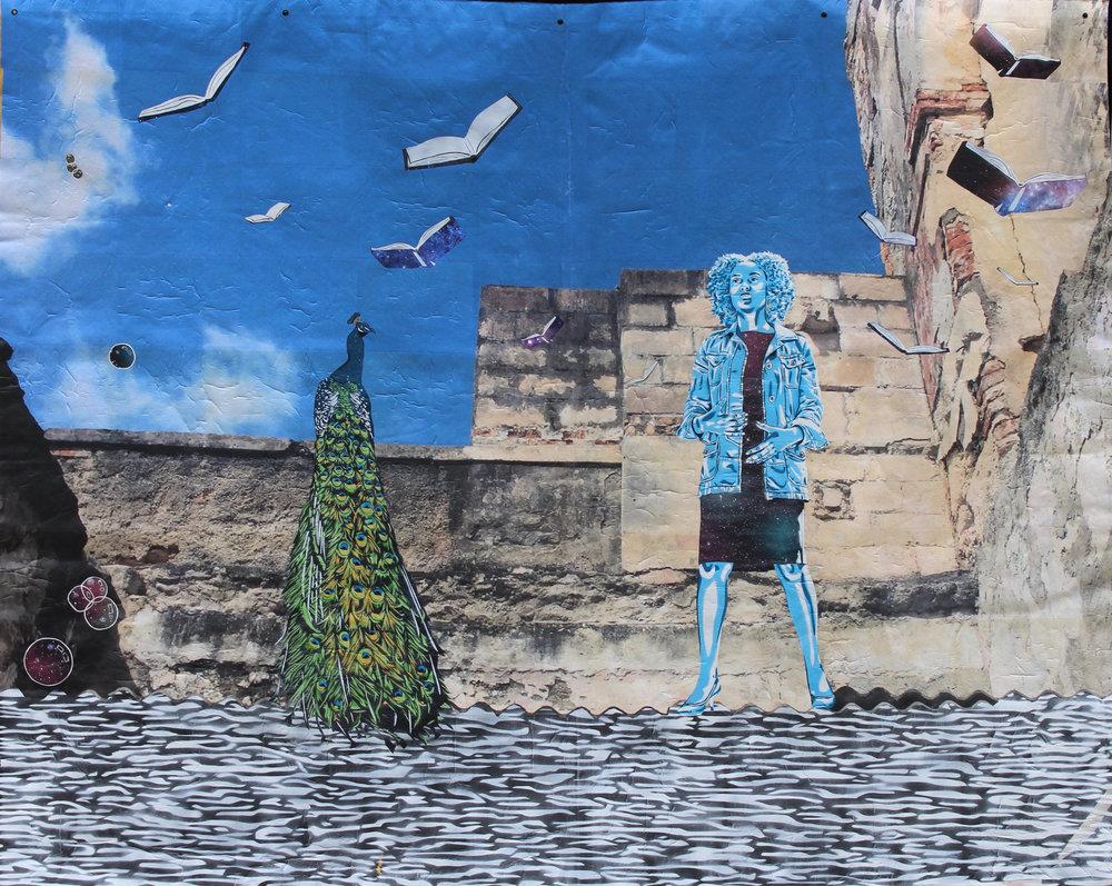 - The Alphabet Vs the Goddess Yemaya'hand-cut stencil, spray paint, photograph (Cuba), paper, acrylic on canvas, 2018, 78