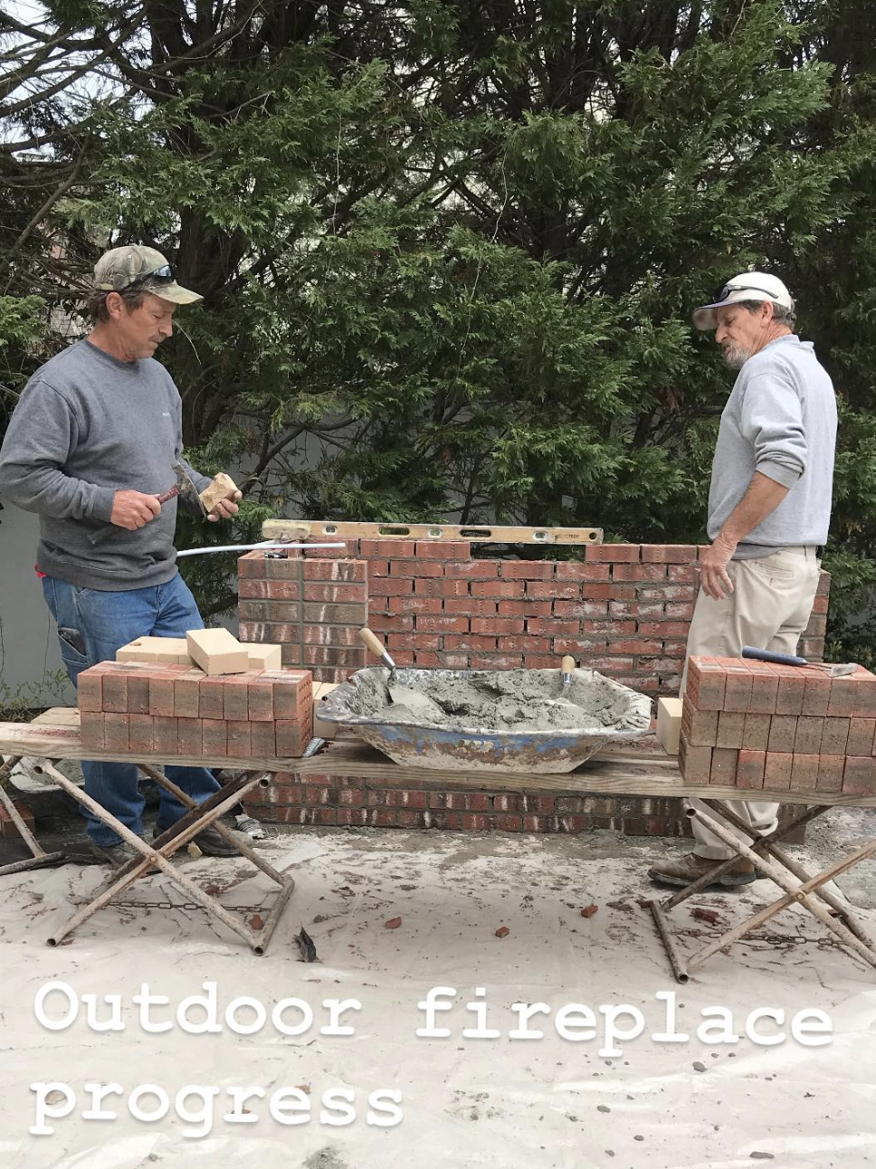Outdoor fireplace being installed on my Graylyn project in Fayetteville, NC. www.janadonohedesigns.com