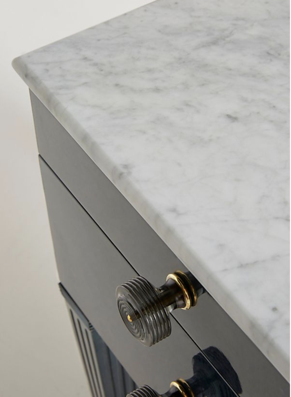 Here's a close up of the white marble desk top and the hardware. She could change out the hardware to suit her tastes...and I could have a piece of glass cut to put on top of the white marble, for now, although that would mean lots of fingerprints and constant maintenance while she's young. Decisions!