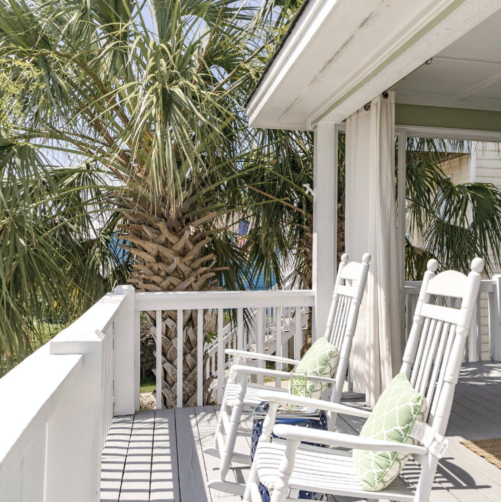 The front porch of the Kure Beach vacation home of Fayetteville, North Carolina based interior designer, Jana Donohoe Designs of www.janadonohoedesigns.com.
