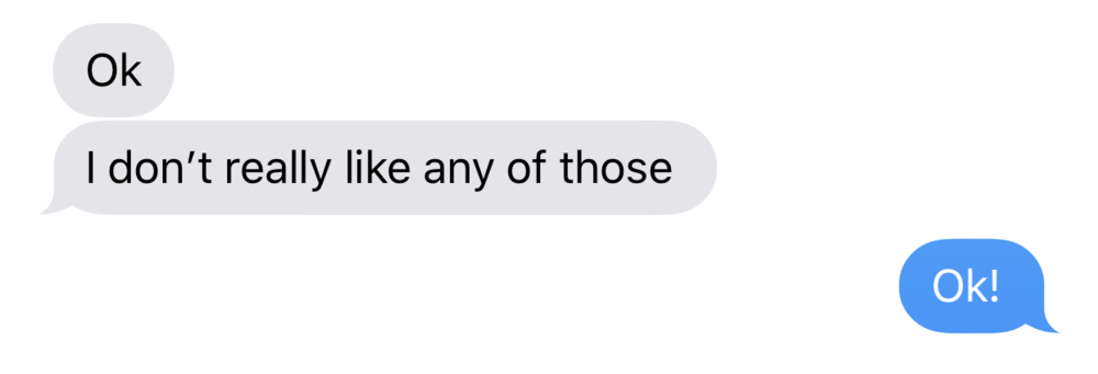 Text message from tween