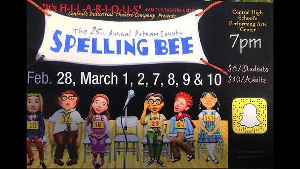 Come see our thespians as we put on our spring musical comedy: The 25th Annual Putnam County Spelling Bee! We open in three weeks!