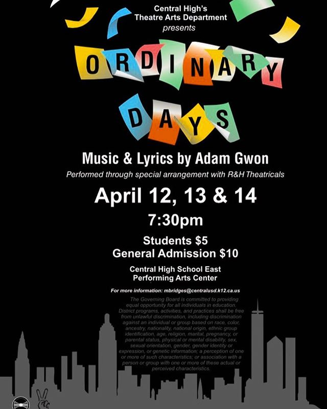 Come see Ordinary Days, our musical that competed at the CA Thespian Festival this Spring! April 12-14 at 7:30 in the PAC! $5 Students $10 General Admission