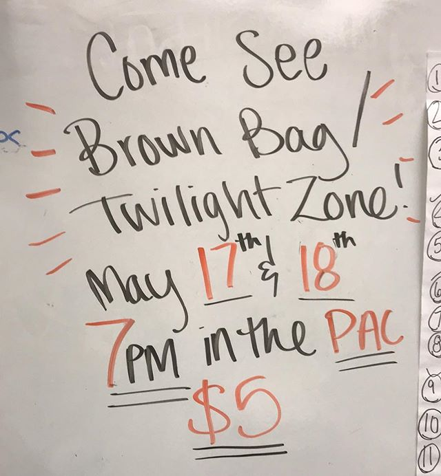 Come see Central Theatre's Last production of the year!! See Thespian award winning superior performances, State-recognized improv team, musical numbers, and much much more!! Each night also features a special performance of a *TOP SECRET* Twilight Zone episode by our Theatre 3 class! • May 17 & 18 @ 7pm in the PAC! $5 Gen. Admission •