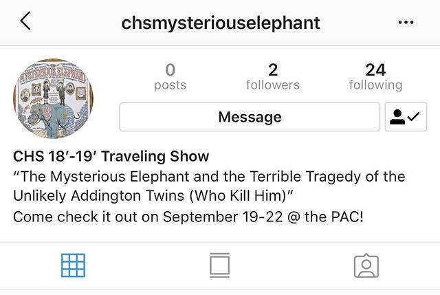 If you want more updates on Central's travelling show, then follow @chsmysteriouselephant  You'll get updates on the show's performances and how well it does at competitions!
