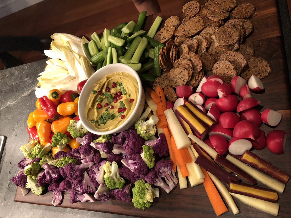 Crudite and Curry Hummus Board