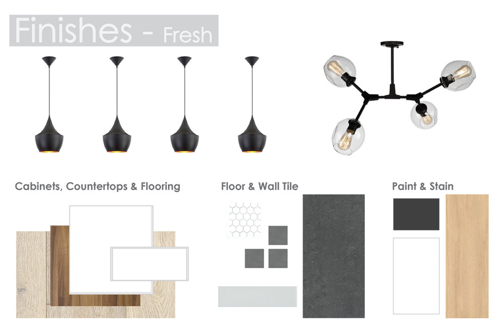- Fresh is clean and crisp with ultramatte white and walnut cabinets; light fixtures that pop; white oak hardwood; and a light grey and white colour pallet.