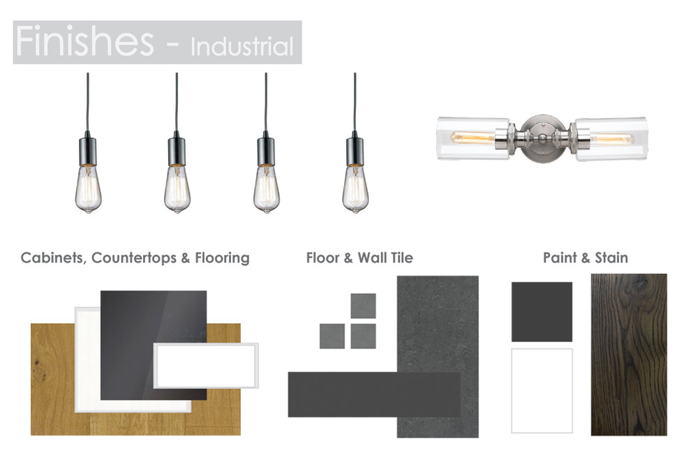 - Industrial Features gloss grey or matte black cabinetry; sawcut hardwood; glass bulb pendant lights; and black feature walls.