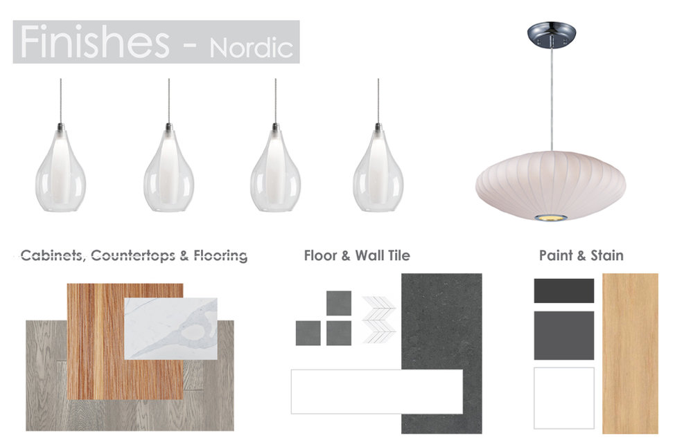 - Nordic  features 'teak' millwork and grey washed hardwood throughout; glass island pendants and a mid-century inspired dining fixture; mid grey feature walls keep the package modern and up to date.