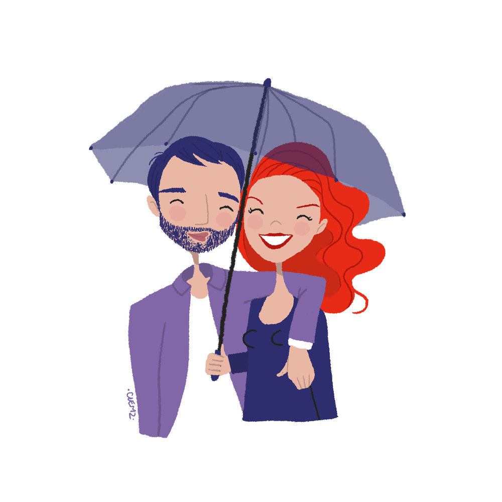 illustration couple amoureux parapluie - lyon - paris - france