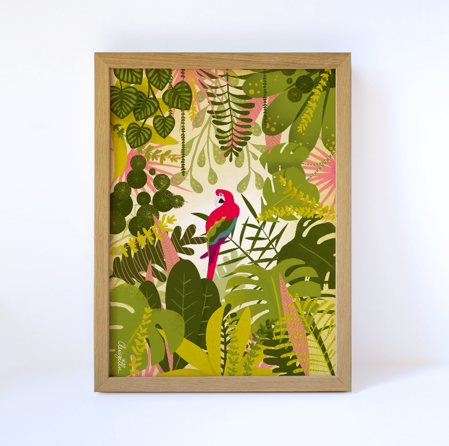 Affiche illustration Perroquet jungle décoration