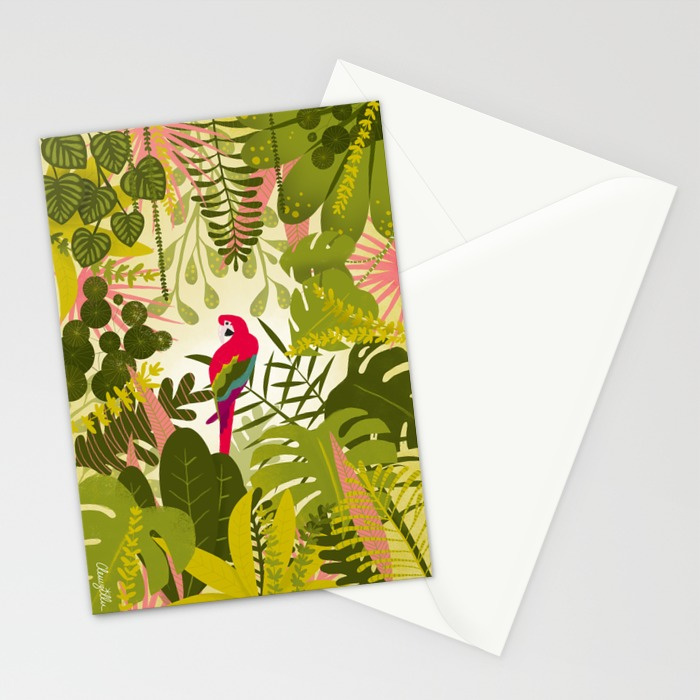 Cartes illustration Perroquet jungle Clemzillu