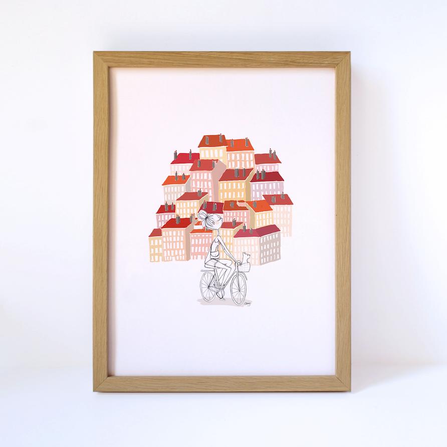 affiche lyon croix rousse illustration Clemzillu illustratrice lyonnaise