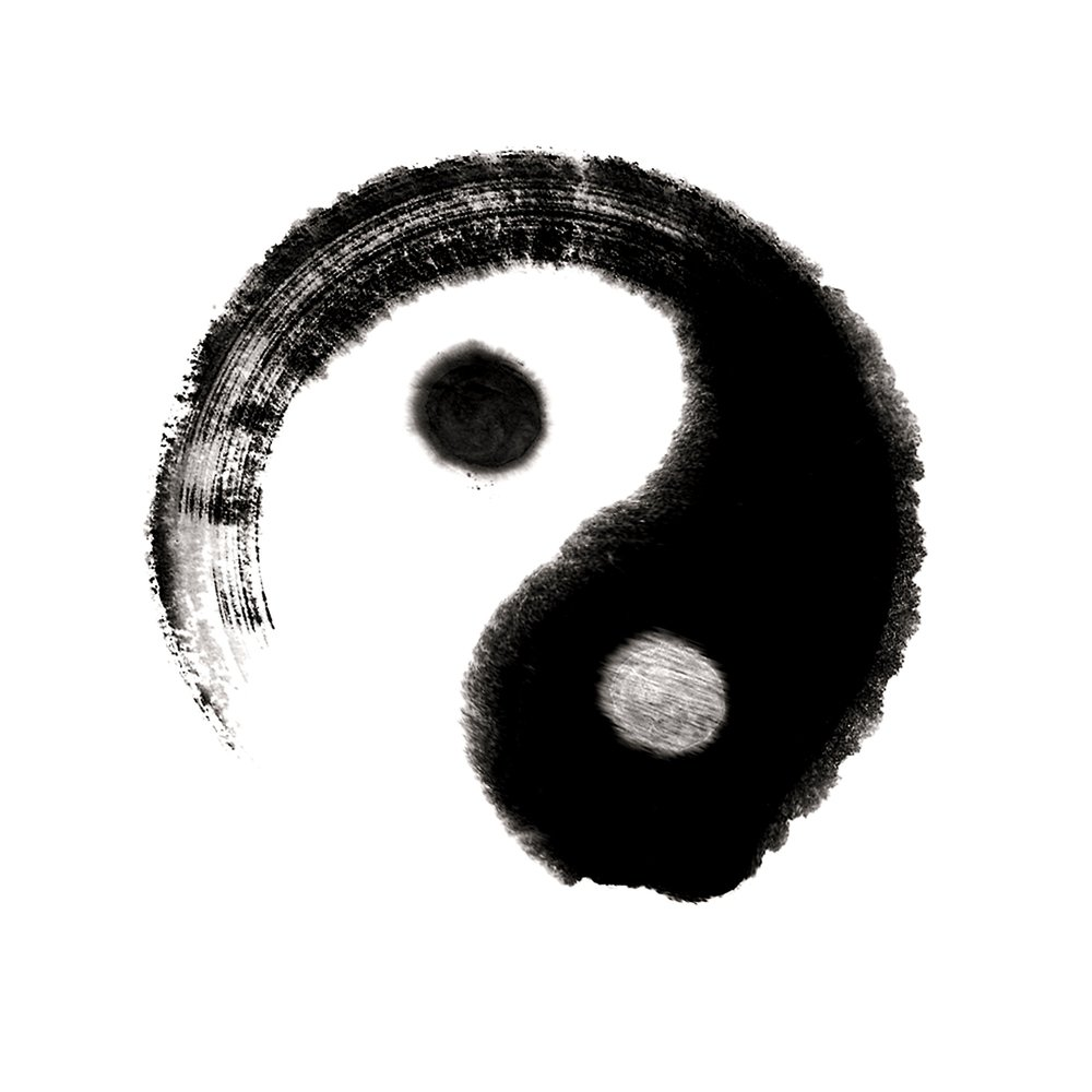The well-known symbol of the juxtaposed  Yin and Yang , forever entwined.