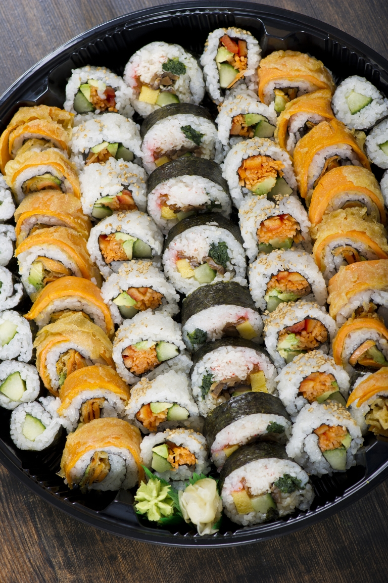 Geisha $105 - Tuna (4)Salmon (4)Yellowtail (4)White tuna (4)Real crabmeat roll (8)Shrimp tempura roll (6)Volcano roll (8)Rainbow roll (8)Bedminster roll (8)Rock and Roll (6)