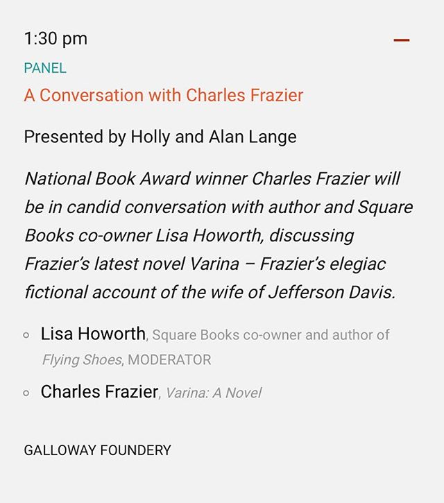 Visiting @msbookfestival today? Hope you'll head to the Galloway Foundery at 1:30pm! Will also sign books from 3:00–3:30pm. #msbookfest #literarylawnparty