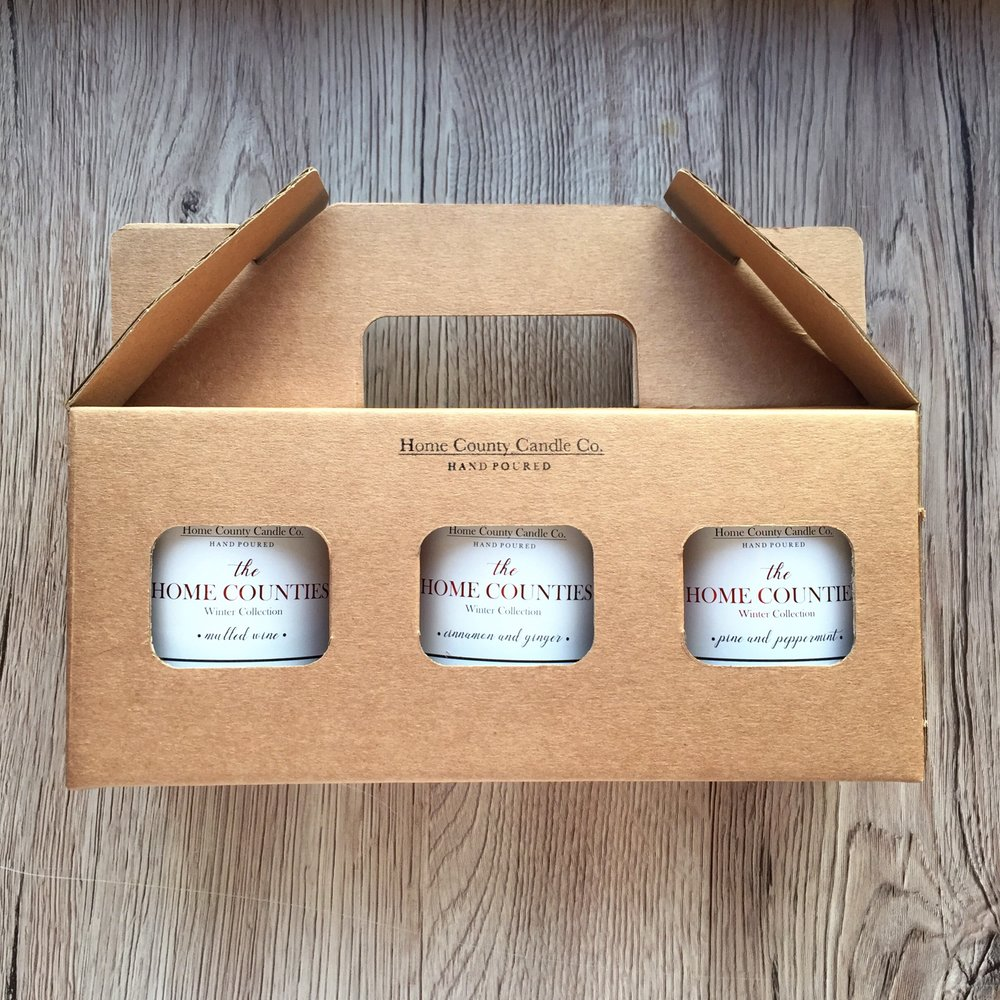 """our 3 top picks this december - 1. Candle Trio Gift Sets - According to 'The Gift Box' """"if you're unsure which fragranced candle is best to give, why not choose a gift set with various scents included? This takes away all the worry of not selecting someone's favourite fragrance."""" Not only that, our Candle Trio Gift sets are also a great way of taking your recipient down memory lane (""""remember when you grew up in Bucks, moved to Herts and holidayed in Yorkshire""""). It also helps that they come beautifully packaged in a lovely little hand-stamped gift box - so hardly any wrapping required!2. Candle & Diffuser Gift Sets - If you really want your gift to last, the addition of one of our reed diffusers is perfect! With our candle and diffuser gift sets you can once again mix and match your scents, and the diffuser will last around 4-5 months!3. 3 Wick Candles - We all have that one candle-mad friend who goes through candles like hotcakes (guilty!). Our 3-wick candles, with a burn time of around 80-85 hours are the perfect gift for the candle lover in your life this Christmas (and will also make fantastic Christmas table centerpieces)!"""