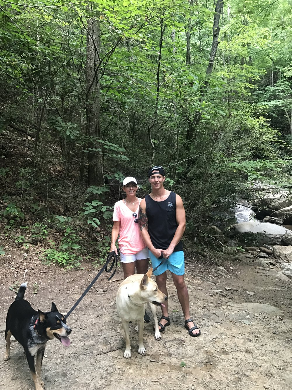Hiking with the dogs.. Snoop and Kyro