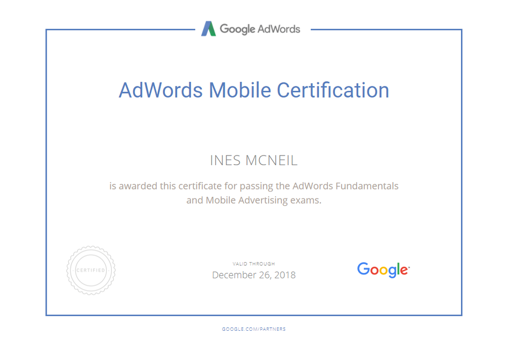 InesMcNeil - AdWords Mobile Certification.png
