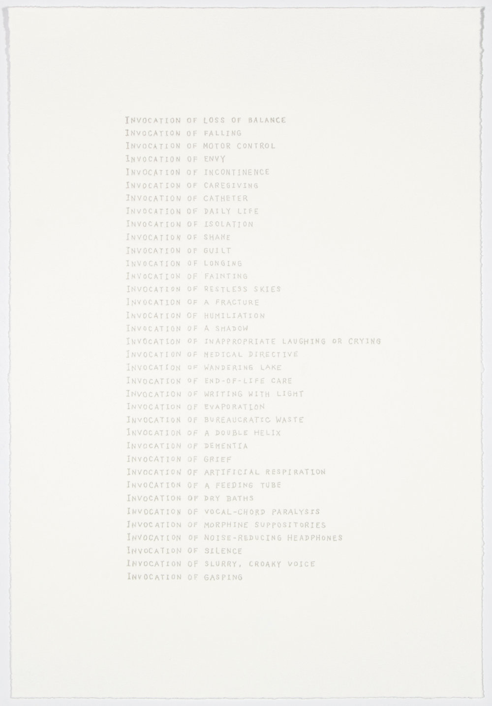 List of Invocations , 2017 Letterpress Image Size: 17.5 x 12 inches Paper Size: 17.5 x 12 inches Edition of 50