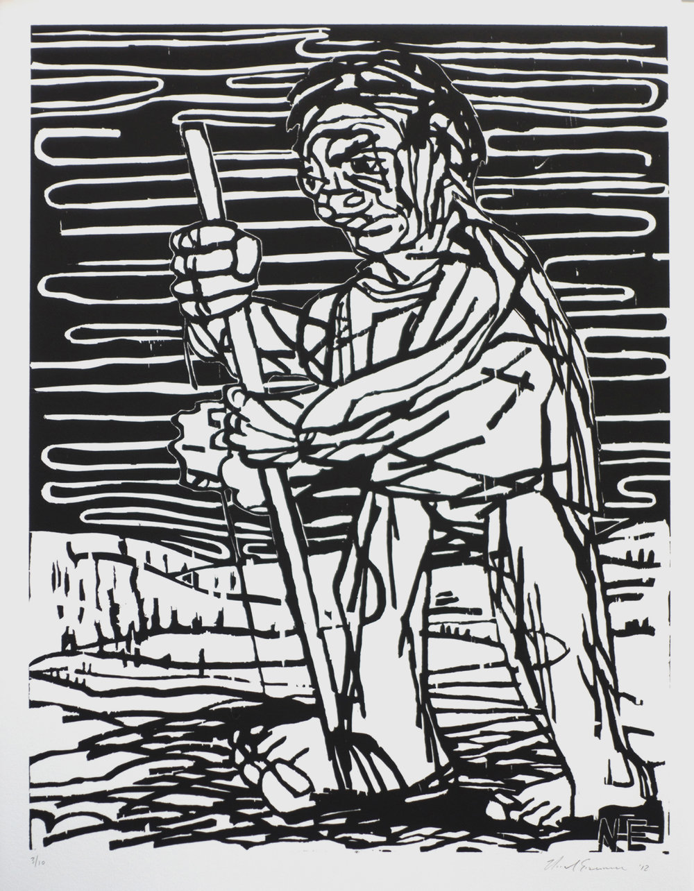 Untitled , 2012 Woodcut Image size: 26 x 20 inches Paper size: 29.125 x 23.125 inches Edition of 10