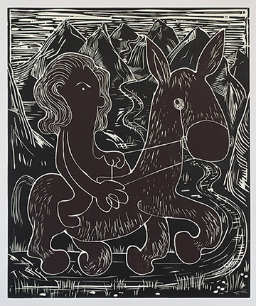 Tiffany Crossing the Alborz , 2015 Glow in the Dark Woodcut (Lights On) Image size: 29 x 19.75 inches Paper size: 30 x 22 inches Edition of 15