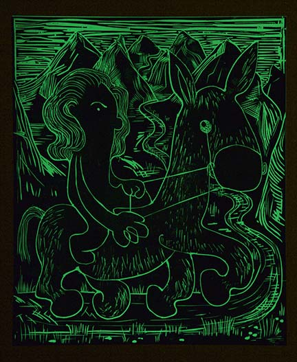 Tiffany Crossing the Alborz , 2015 Glow in the Dark Woodcut (Lights Off) Image size: 29 x 19.75 inches Paper size: 30 x 22 inches Edition of 15