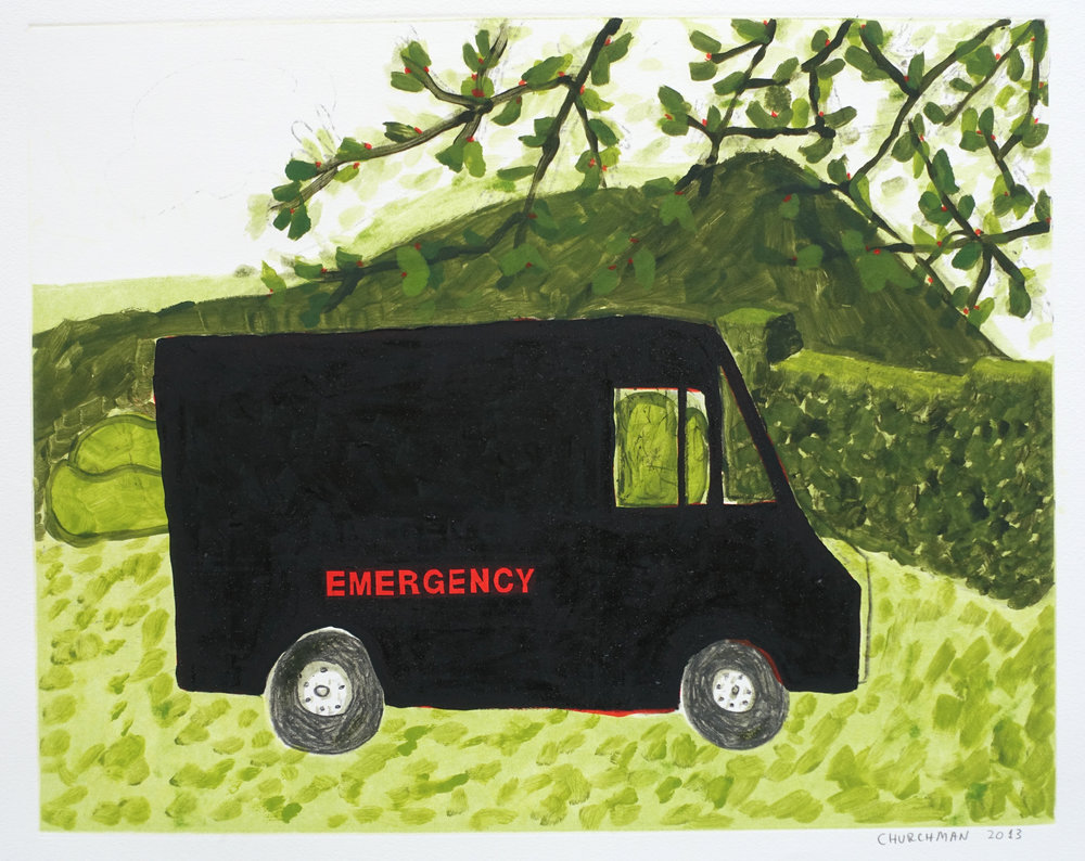 Emergency (III) , 2013 Monotype with silkscreen Image Size: 15.75 x 20 inches Paper Size: 22.25 x 26.5 inches Series of 6