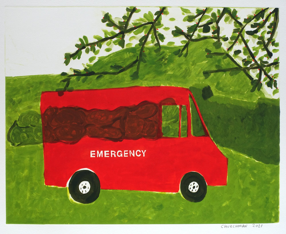Emergency (V) , 2013 Monotype with silkscreen Image Size: 15.75 x 20 inches Paper Size: 22.25 x 26.5 inches Series of 6