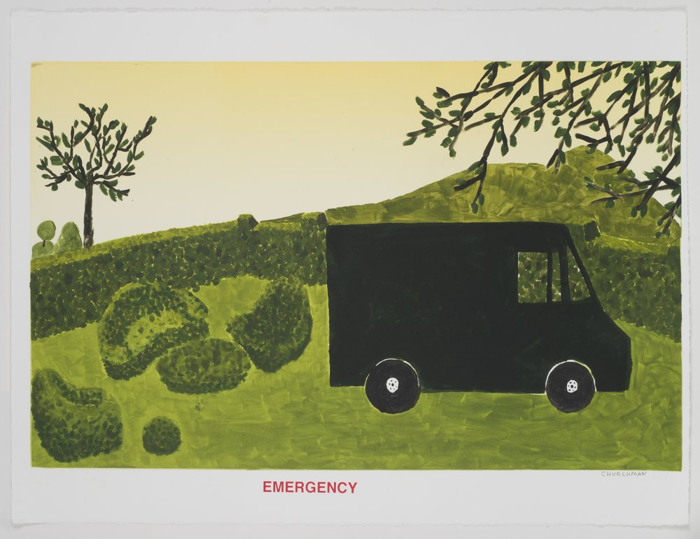 Emergency (I) , 2013 Monotype with silkscreen Image and Paper Size: 22.25 x 30 inches Series of 6