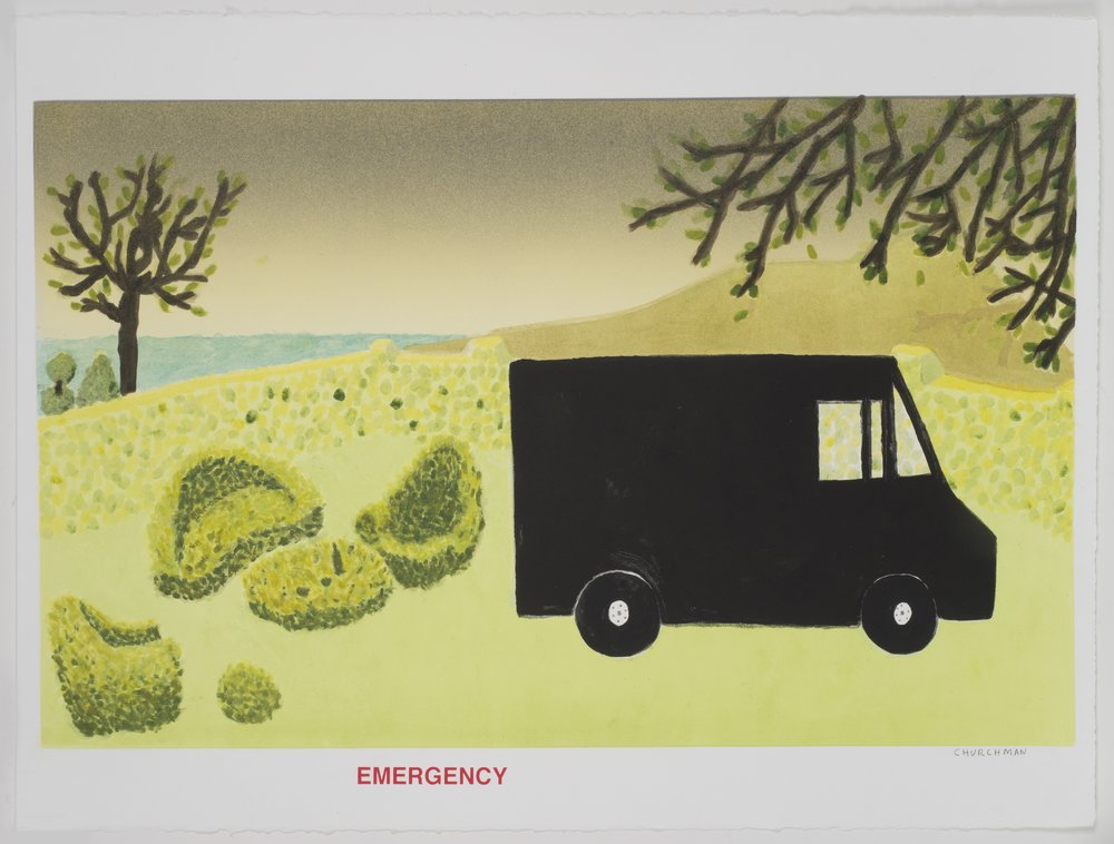 Emergency (II) , 2013 Monotype with silkscreen Image and Paper Size: 22.25 x 30 inches Series of 6