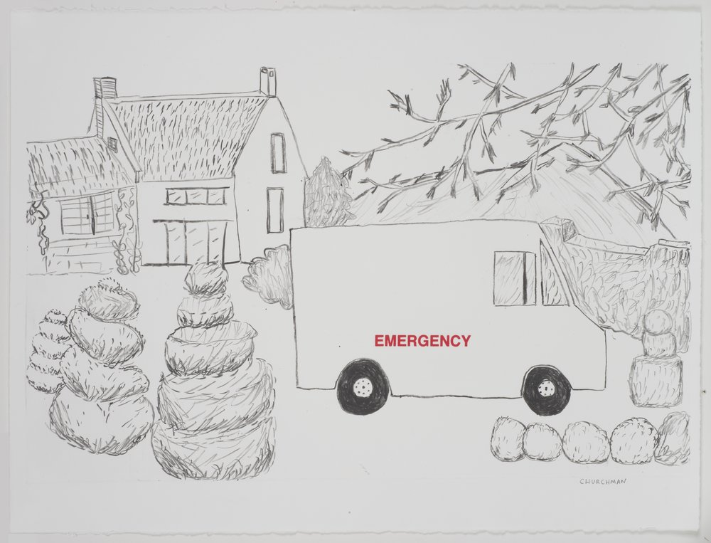The House and Emergency , 2013 Monotype with silkscreen Image and Paper Size: 22.25 x 30 inches Series of 6