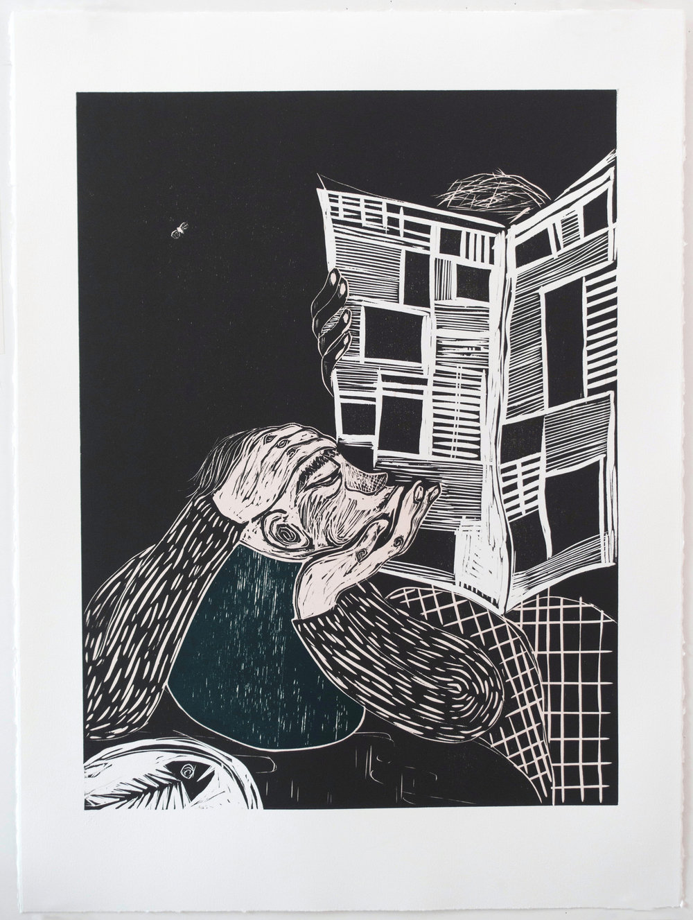 Resistance , 2017 Woodcut Image Size: 24 x 18 inches Paper Size: 30 x 22 inches Edition of 12