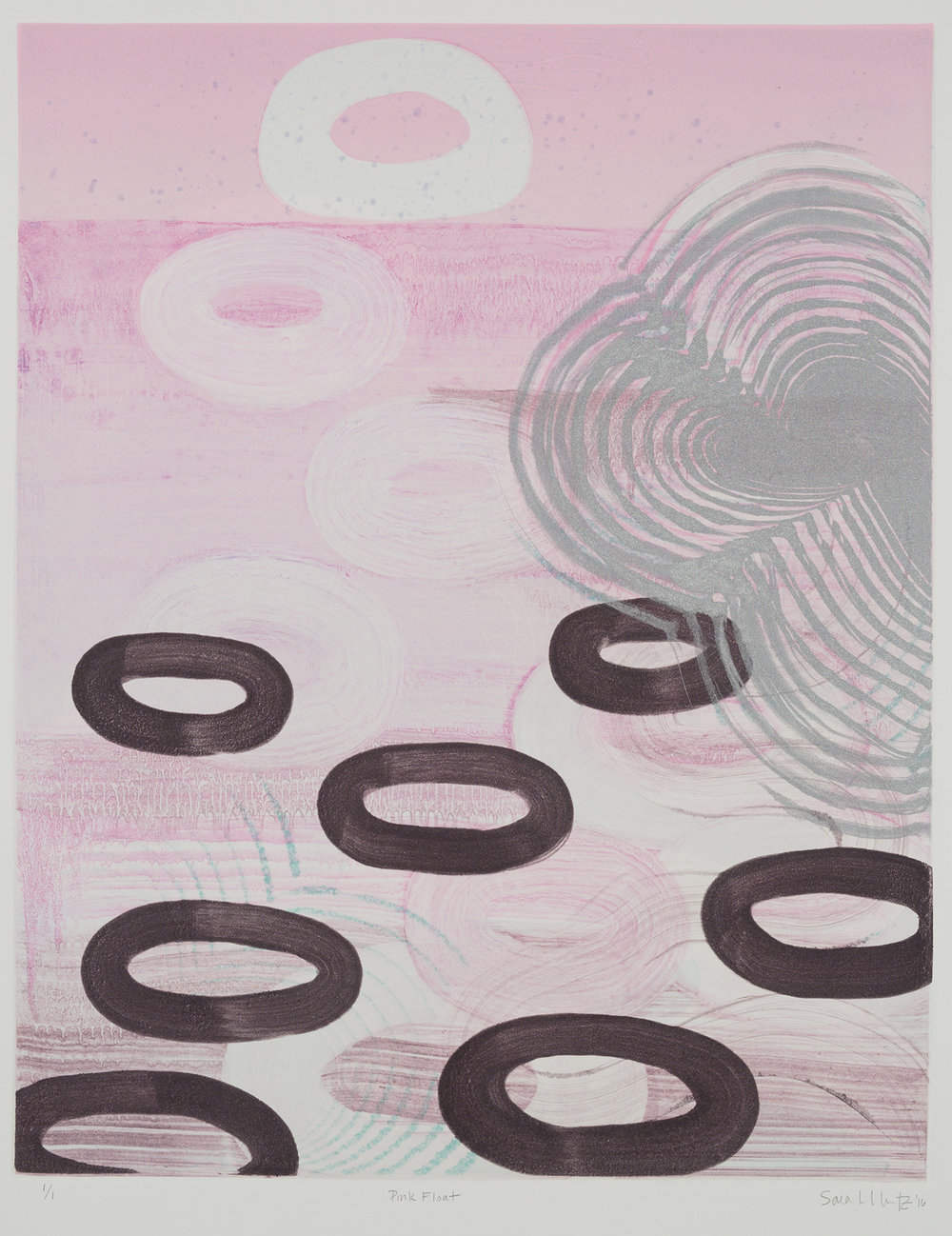 Pink Float , 2016 Monotype Image Size: 20 x 16 inches Paper Size: 30 x 22 inches Series of 8