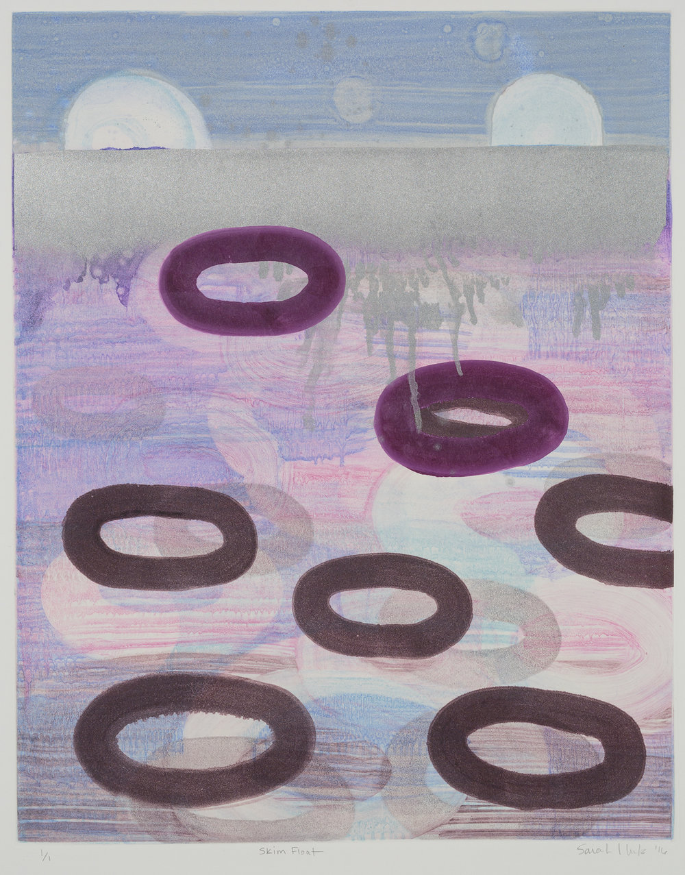 Skim Float , 2016 Monotype Image Size: 20 x 16 inches Paper Size: 30 x 22 inches Series of 8