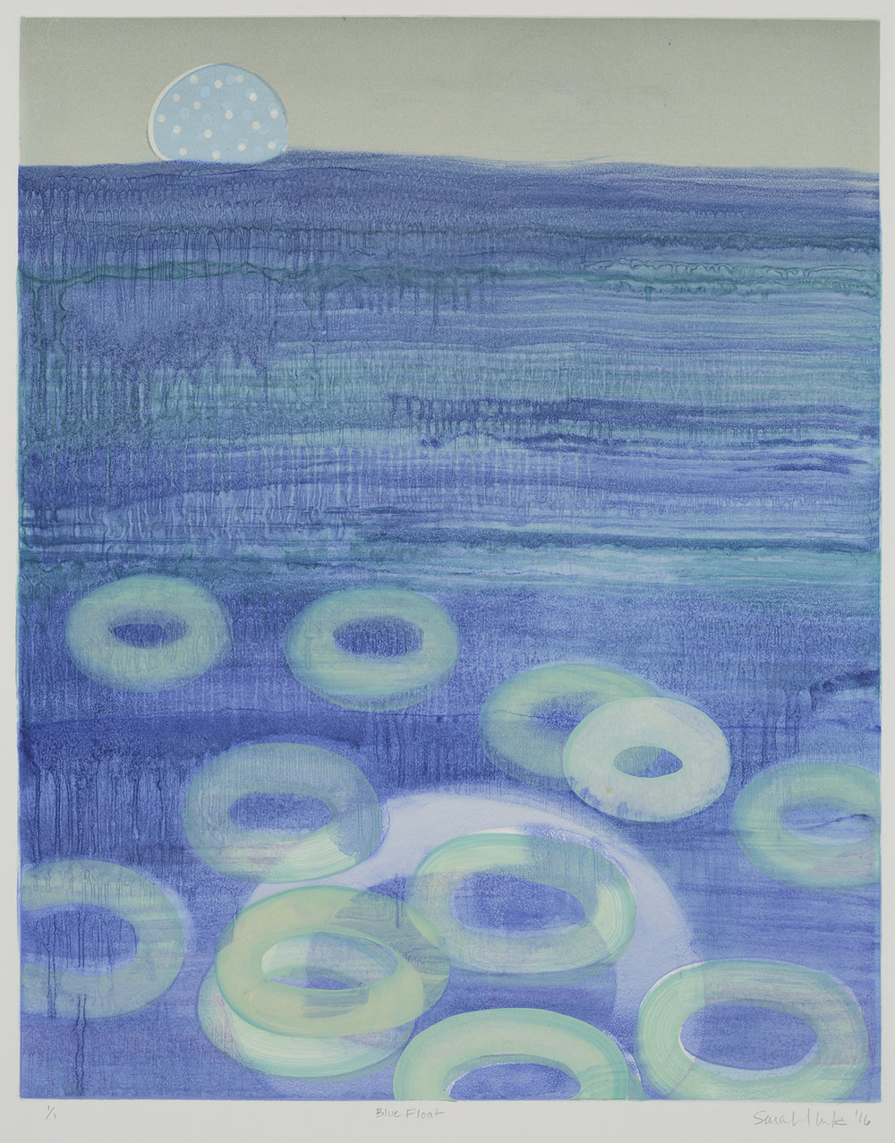 Blue Float , 2016 Monotype Image Size: 20 x 16 inches Paper Size: 30 x 22 inches Series of 8