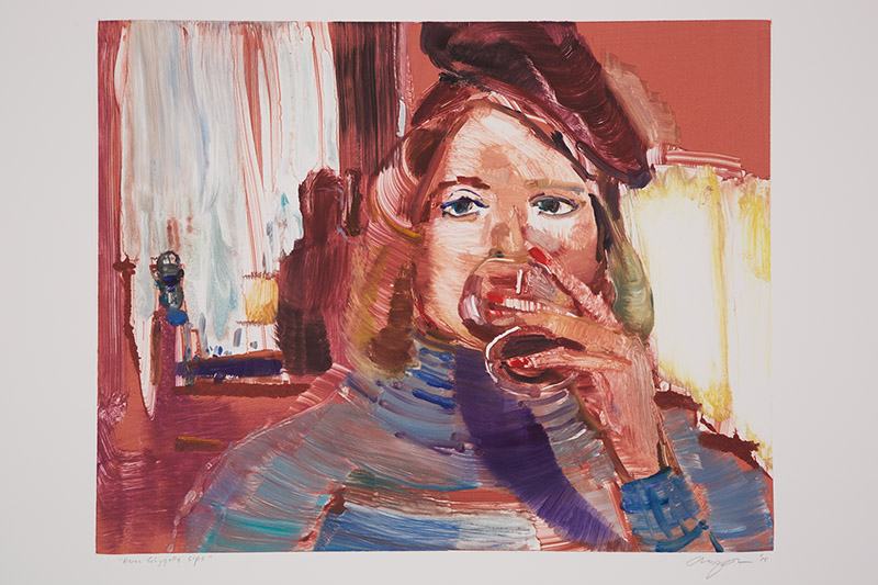 Hanna Schygulla Takes Sips , 2015 Monotype Image Size: 16 x 20 inches Paper Size: 22 x 30 inches Series of 24