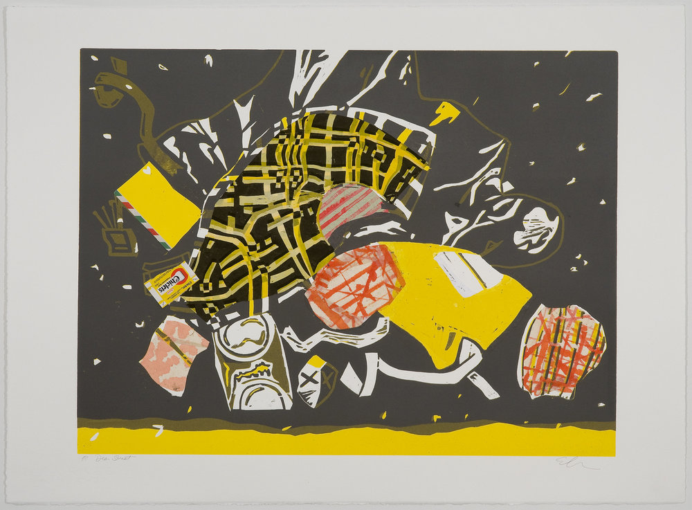 Dean Street (grey) , 2010 Woodcut with chine collé Image Size: 18 x 24 inches Paper Size: 22 x 30 inches Edition of 5