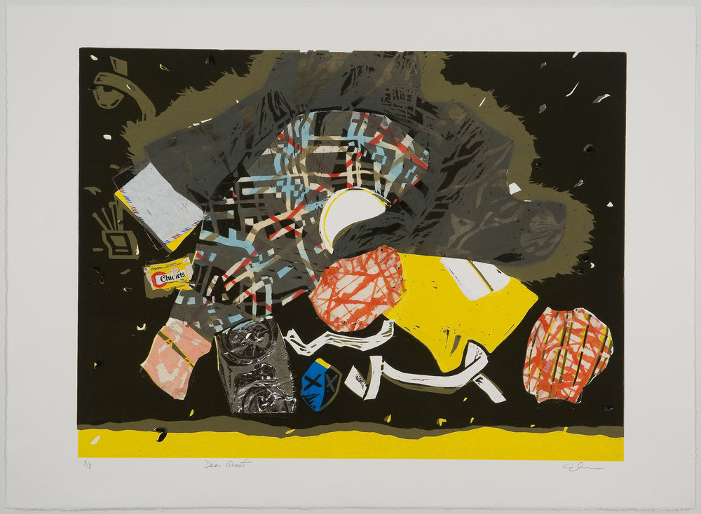Dean Street (black) , 2010 Woodcut with chine collé Image Size: 18 x 24 inches Paper Size: 22 x 30 inches Edition of 8