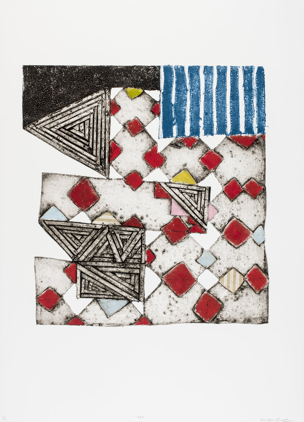 ABR , 2015   Collagraph with Chine Collé Image & Paper: 30.7 x 22 inches Edition of 5